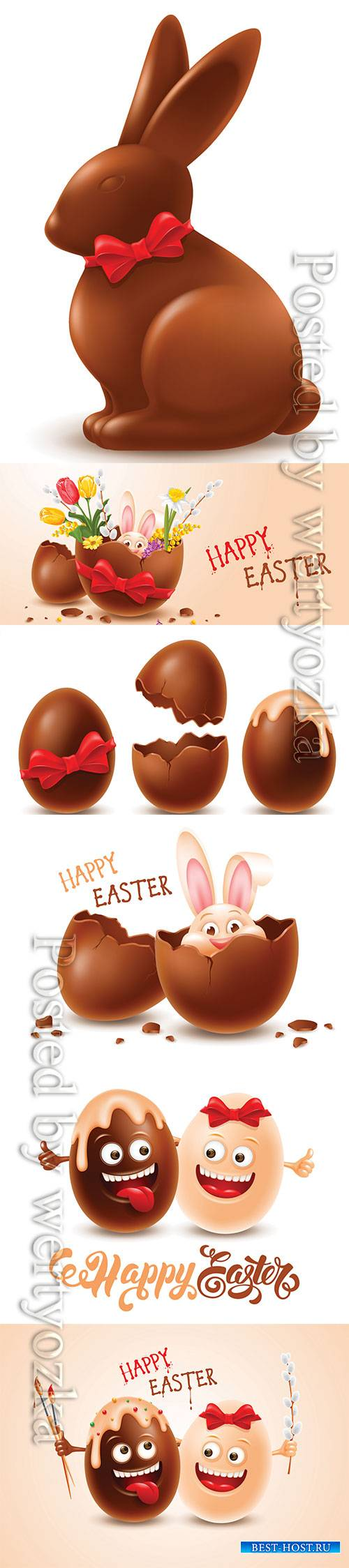 Easter chocolate egg with cheerful easter bunny