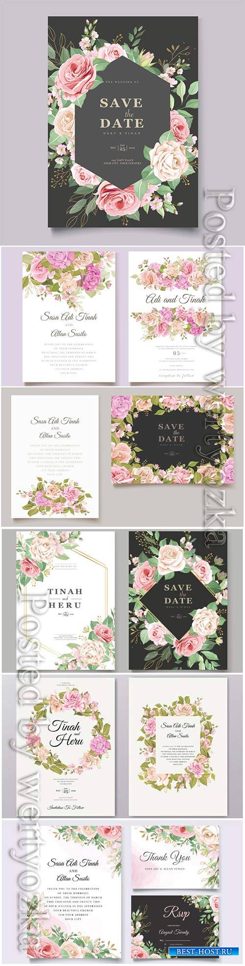 Wedding invitation cards with flowers in vector # 2