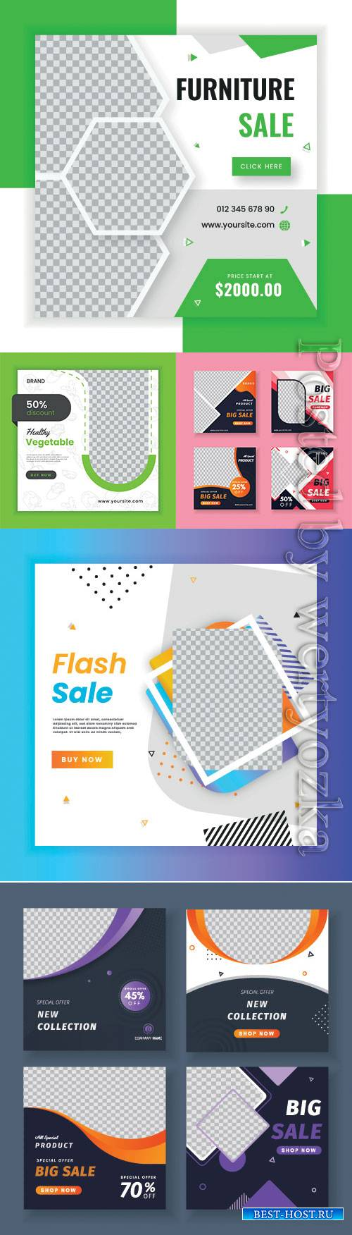 Set of promotion square banners vector template
