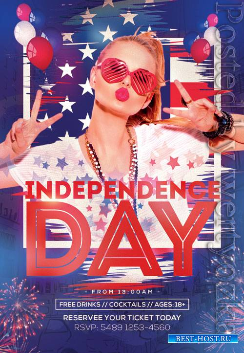 Independence day party - Premium flyer psd template