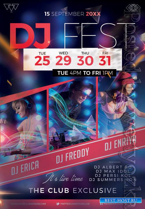 Dj fest event - Premium flyer psd template