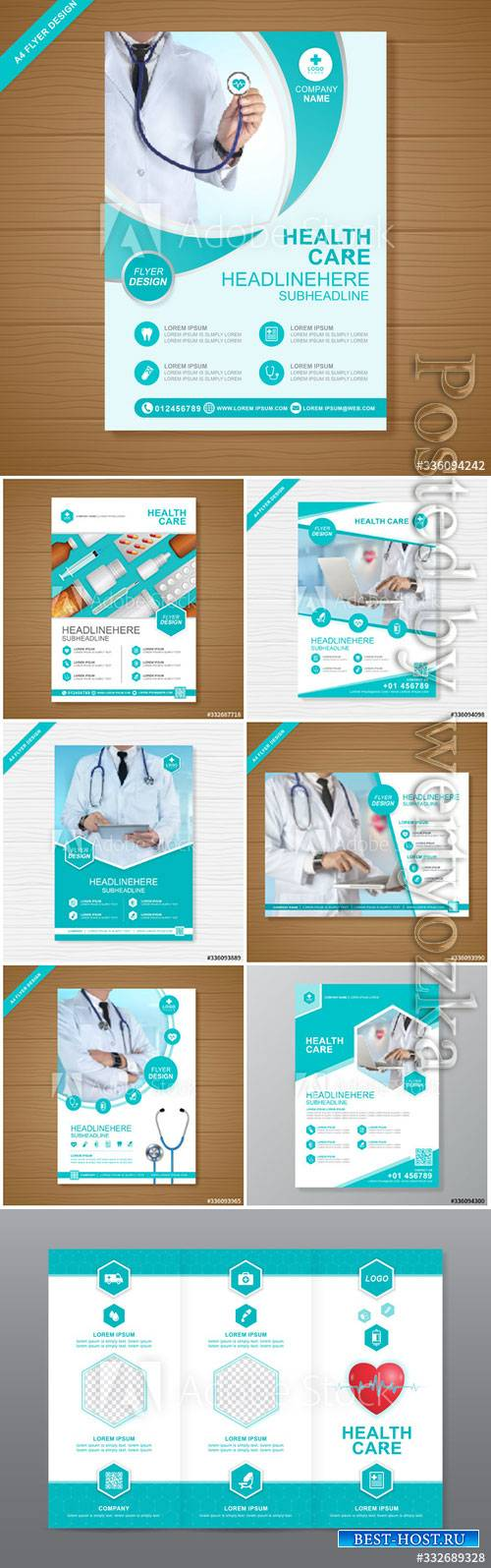 Health care cover a4 template design for a report and medical brochure