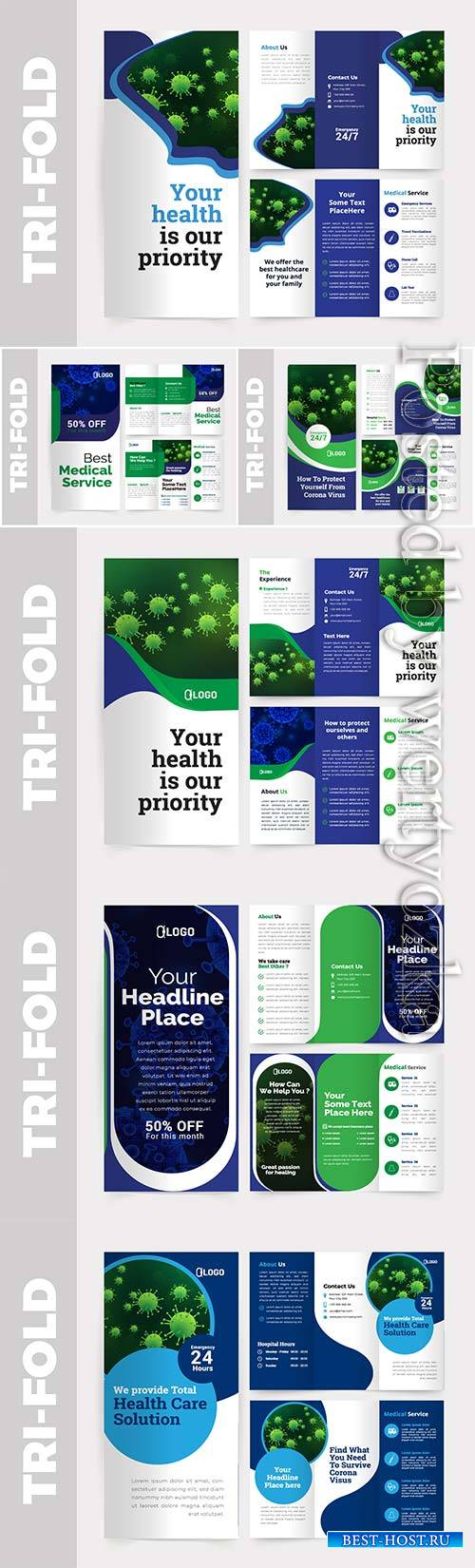 Medical tri-fold brochure design vector template