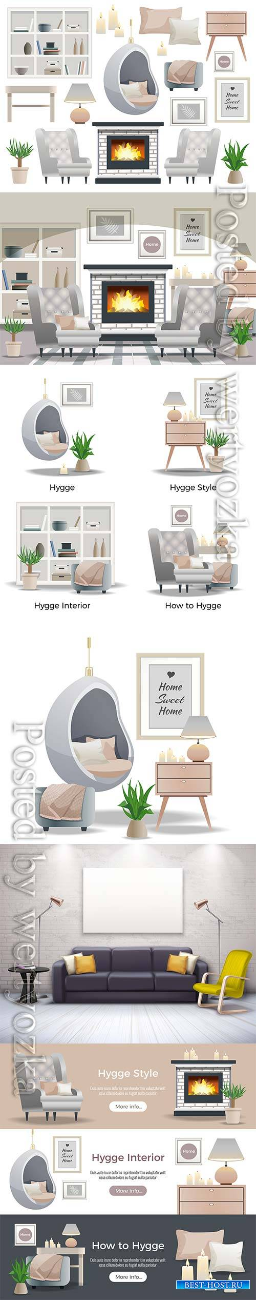 Hygge style interior isometric design element vector collection