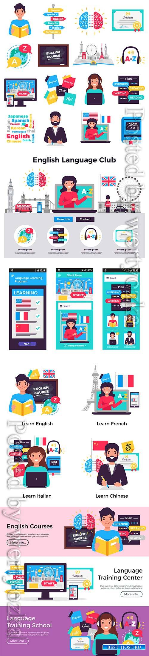 Foreign language learning program isometric element vector collection