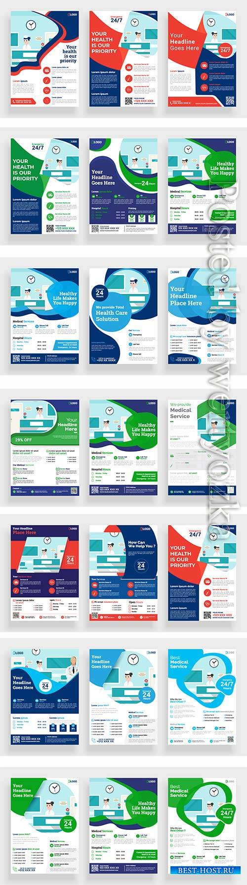 Healthcare brochure vector flyer design