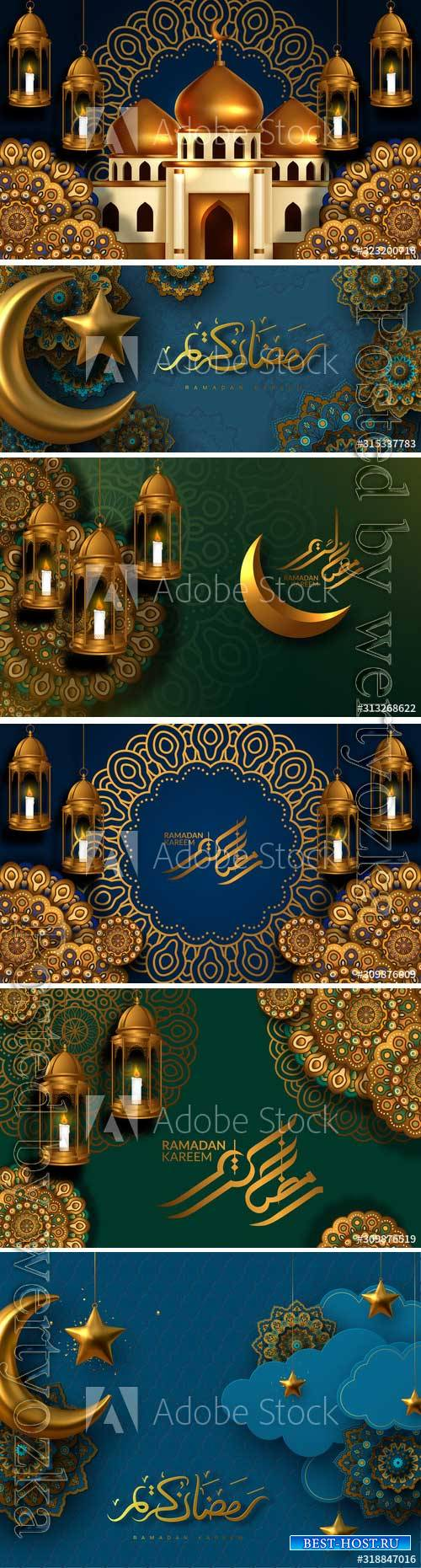 Ramadan Kareem vector card with 3d golden stars,  arabic calligraphy
