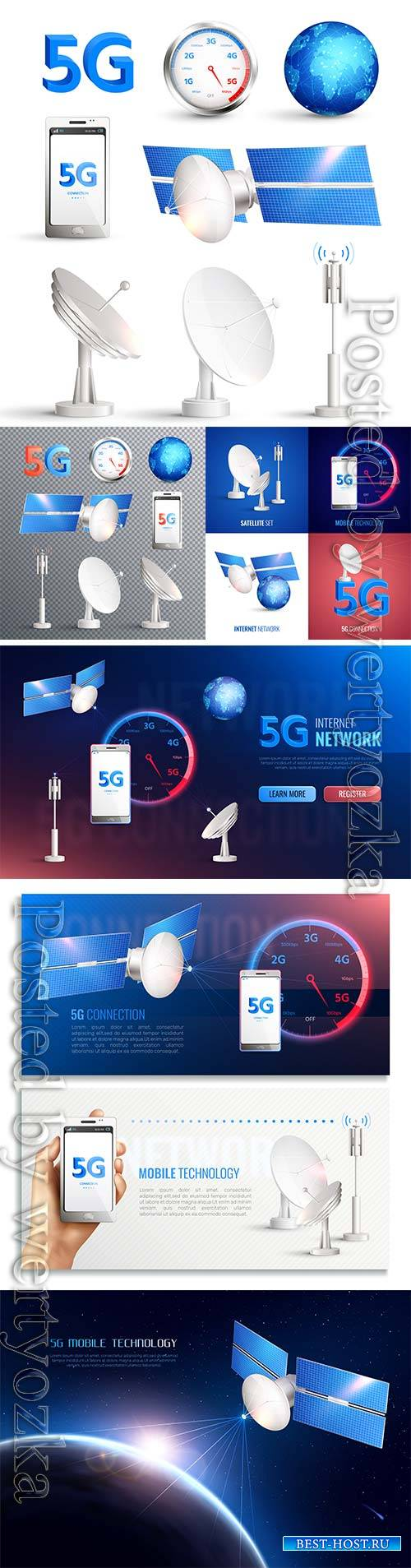 Mobile technology vector icons, broadband internet connection of 5g standard