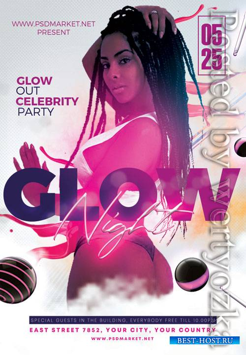 Glow party - Premium flyer psd template