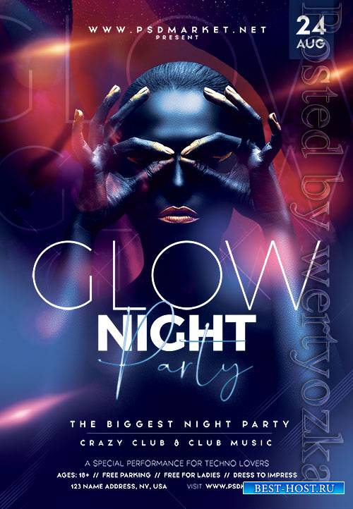 Glow night party - Premium flyer psd template