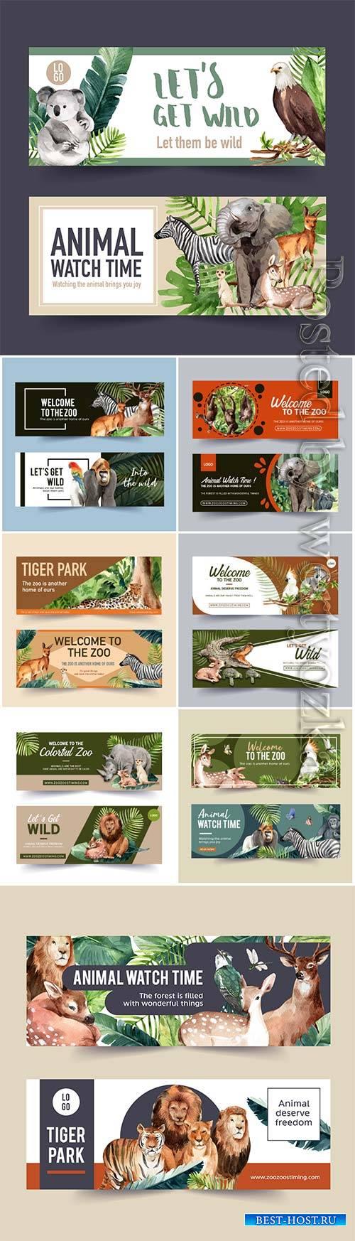 Zoo banner design with tiger, lion, deer watercolor illustration
