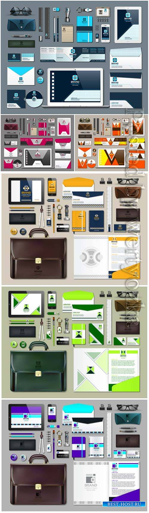 Business stationery with green design vector background