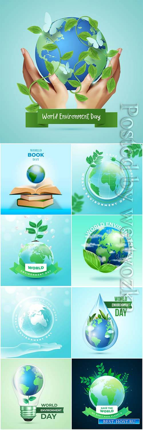 Realistic world environment day concept vector design