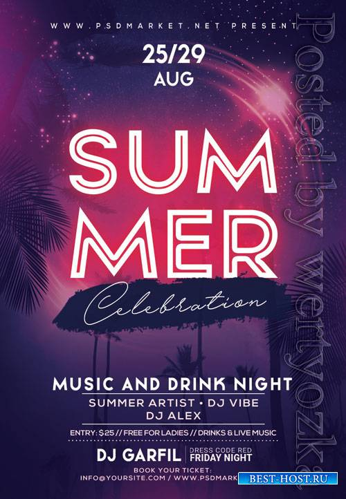 Summer celebration - Premium flyer psd template