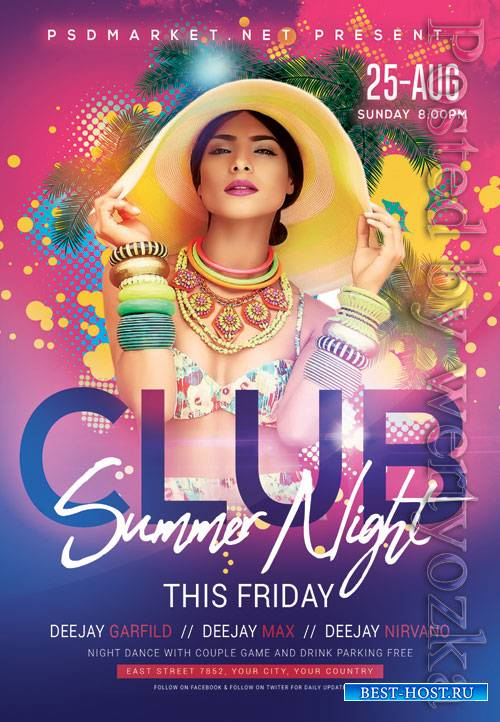 Club summer night - Premium flyer psd template