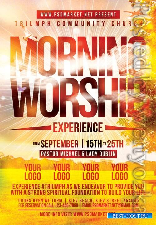 Worship church - Premium flyer psd template