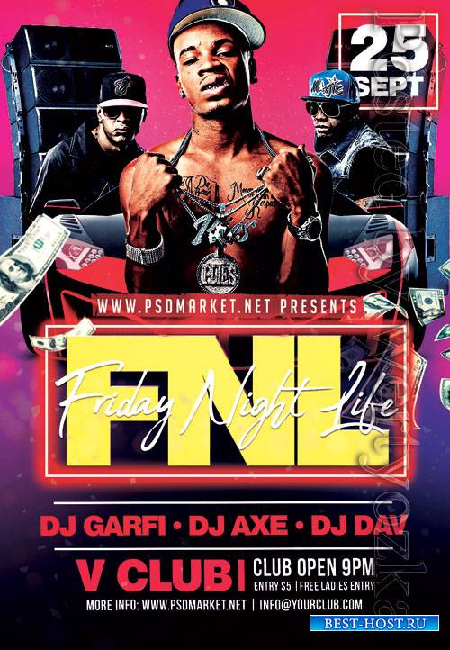 Friday night life - Premium flyer psd template