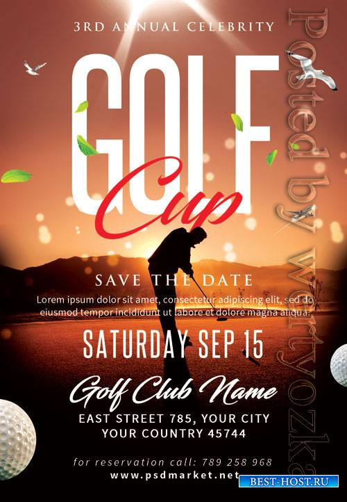 Golf cup - Premium flyer psd template