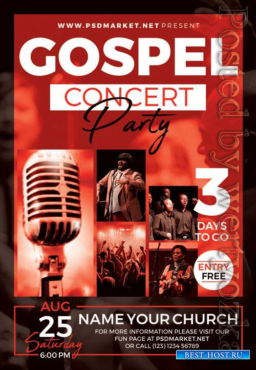 Gospel concert party - Premium flyer psd template