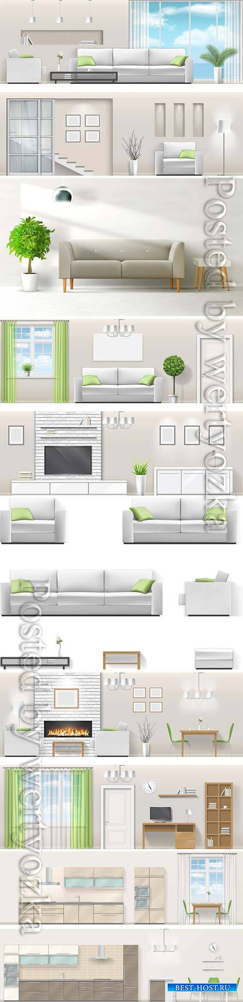 Modern interior in vector, kitchen, living room, bedroom