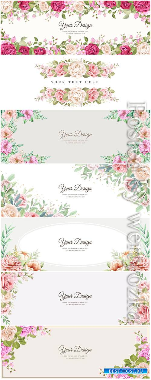 Beautiful banner floral and leaves template