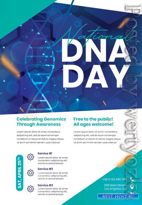 National dna day - Premium flyer psd template