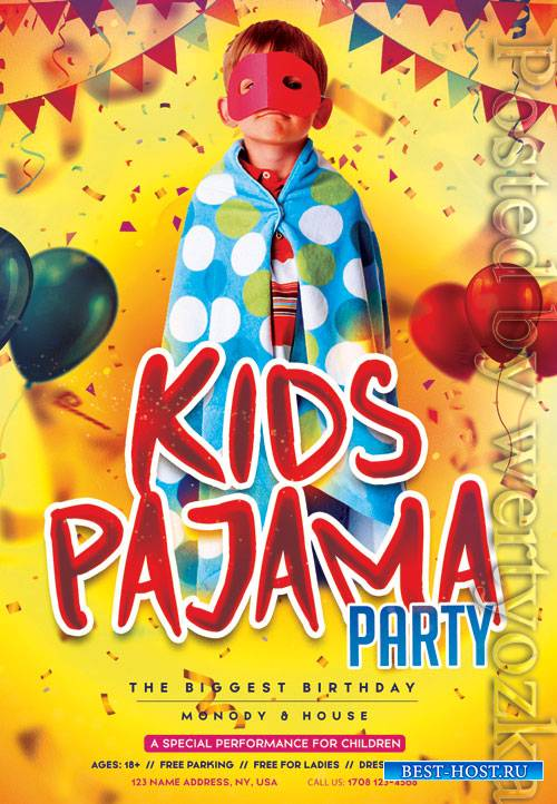Kids pajama party - Premium flyer psd template