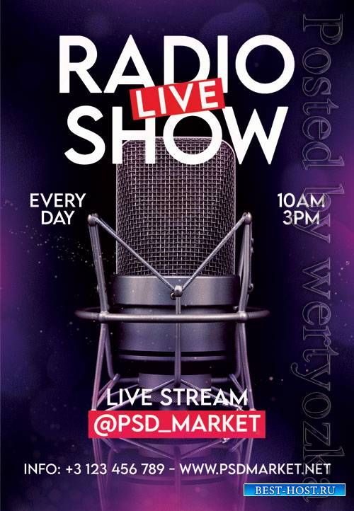 Live radio show - Premium flyer psd template