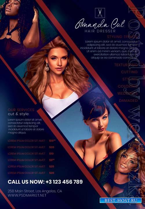 Hair dresser - Premium flyer psd template