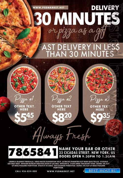 Delivery pizza - Premium flyer psd template