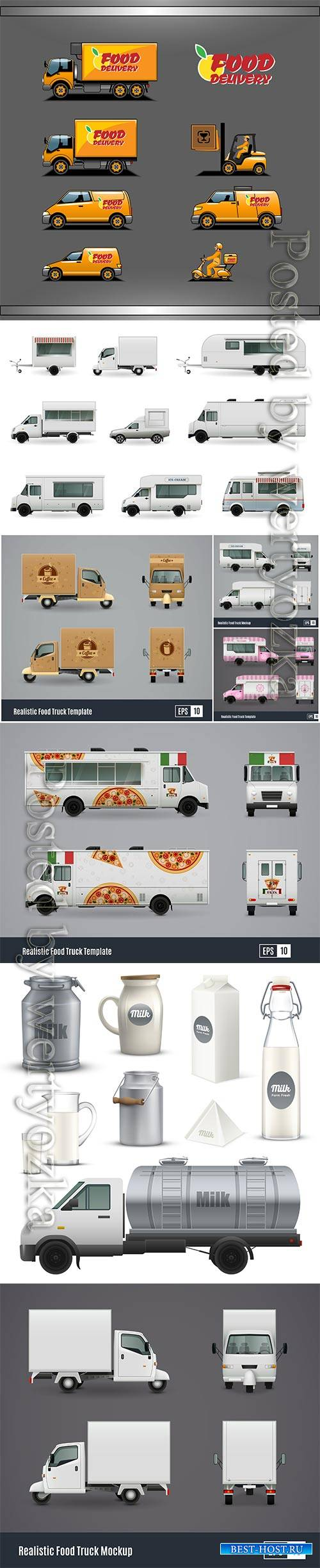 Food trucks realistic vector set