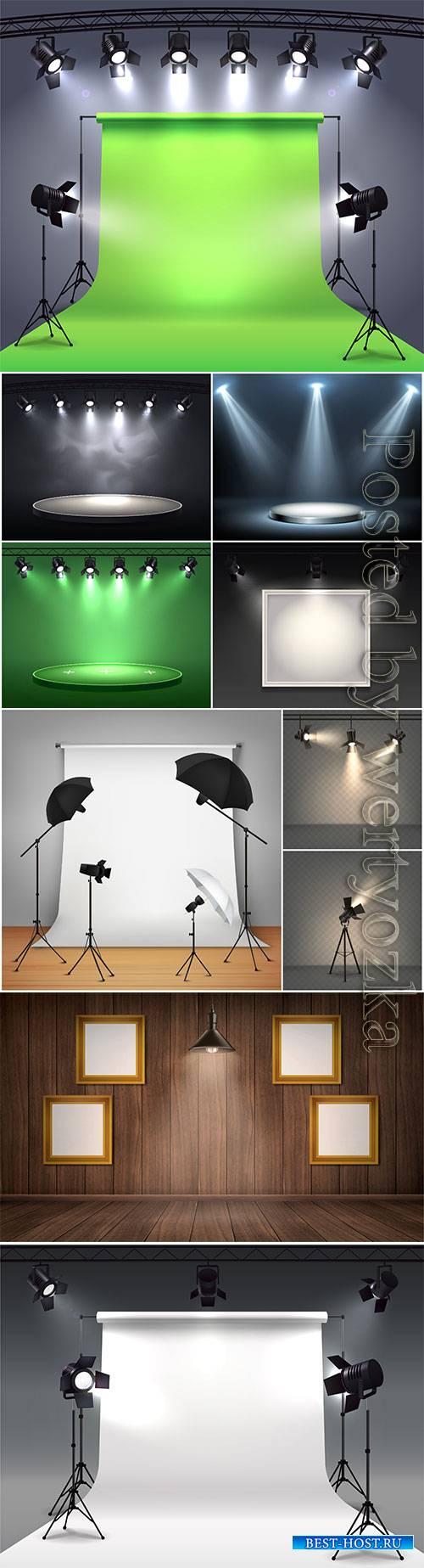 Spotlights realistic vector composition