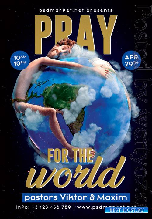 Pray for the world - Premium flyer psd template