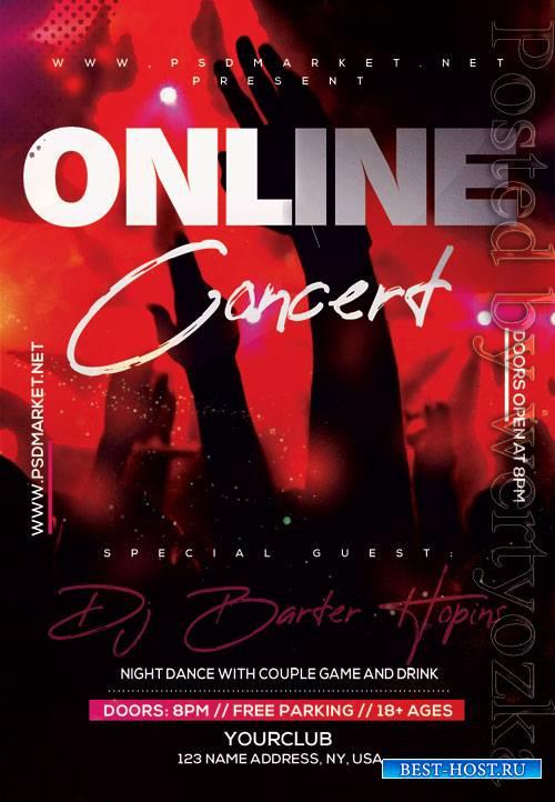 Live online concert - Premium flyer psd template