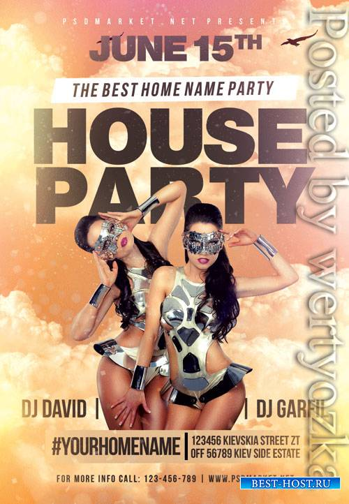 House party - Premium flyer psd template