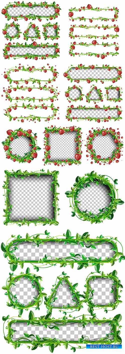 Рамки с листвой и клубникой в векторе