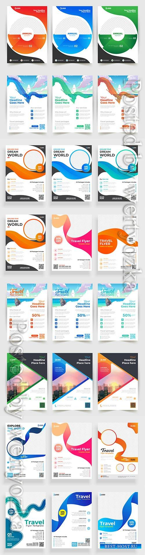 Business flyer template design, brochure vector illustration # 6