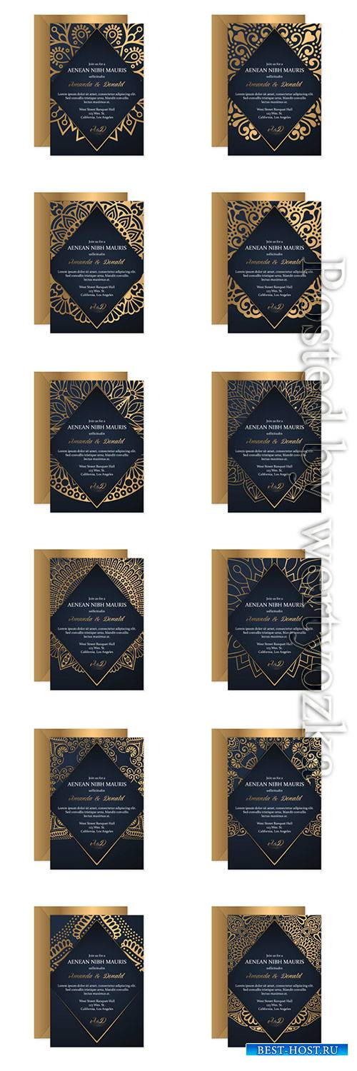 Wedding invitation vector card template with ethnic style