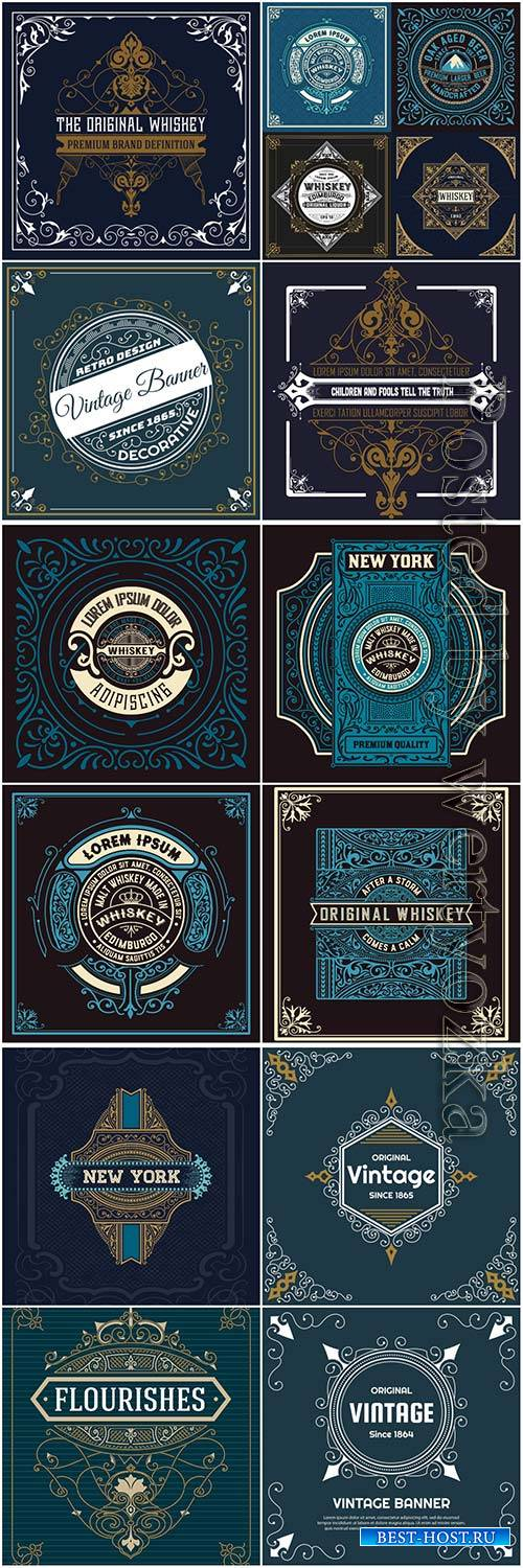 Vintage labels in vector # 3
