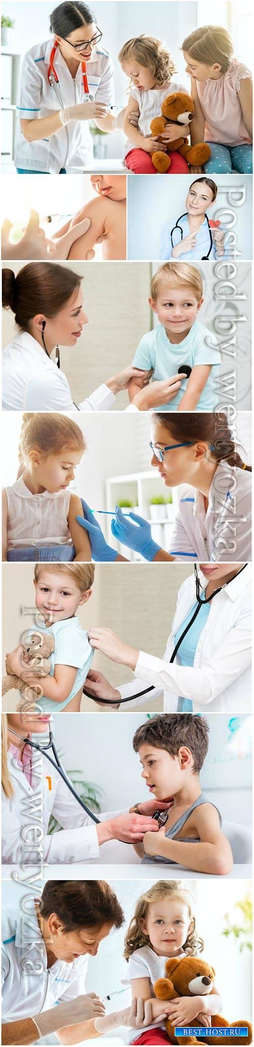 Children's doctor and children stock photo