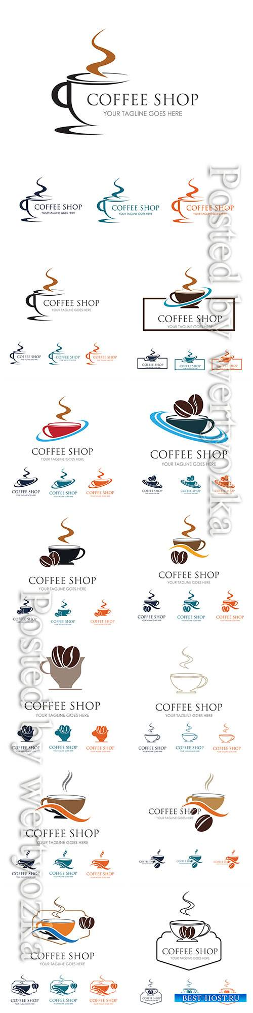 Coffee shop vector logo illustrations