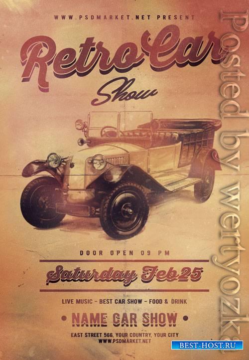 Retro car show - Premium flyer psd template