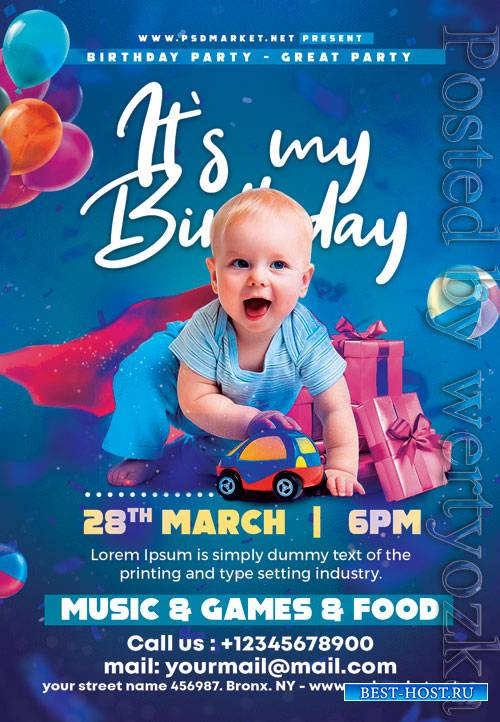 Birthday kids party - Premium flyer psd template