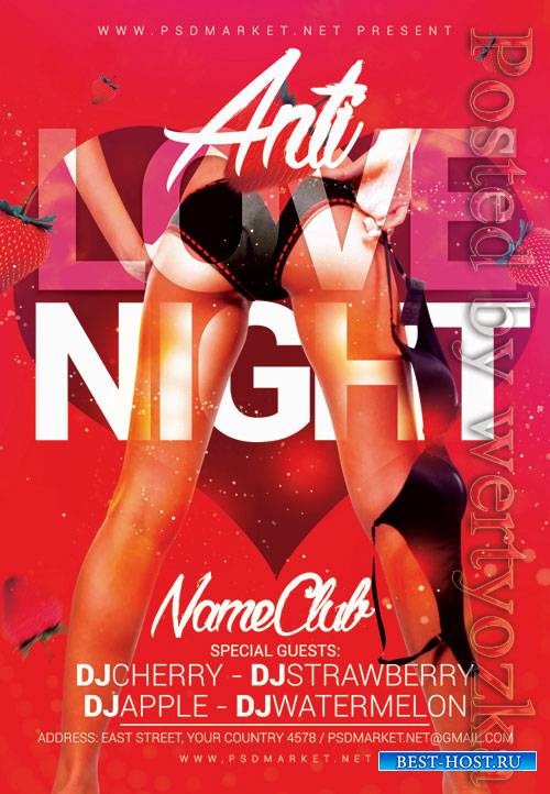Anti love night - Premium flyer psd template