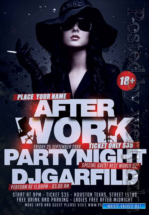 After work party night - Premium flyer psd template