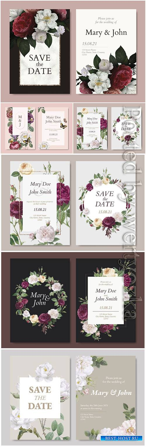 Wedding invitation flowers decorative vector card
