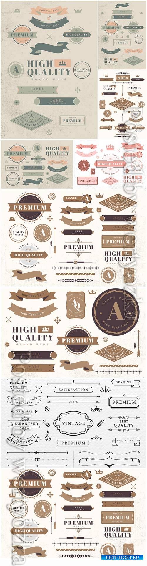 Vintage labels and badges decorative vector elements
