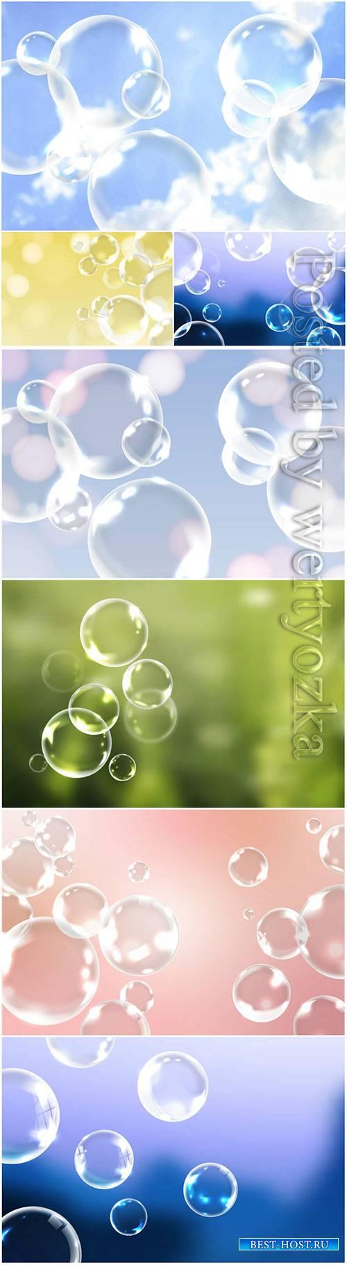 Soap bubbles vector background decoration
