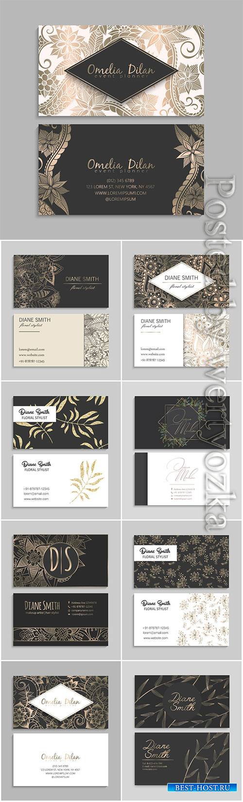 Flowers business cards in vector