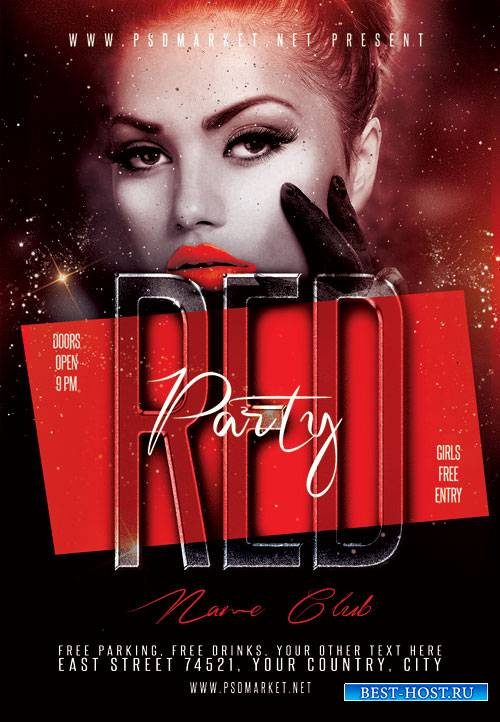 Red club party - Premium flyer psd template